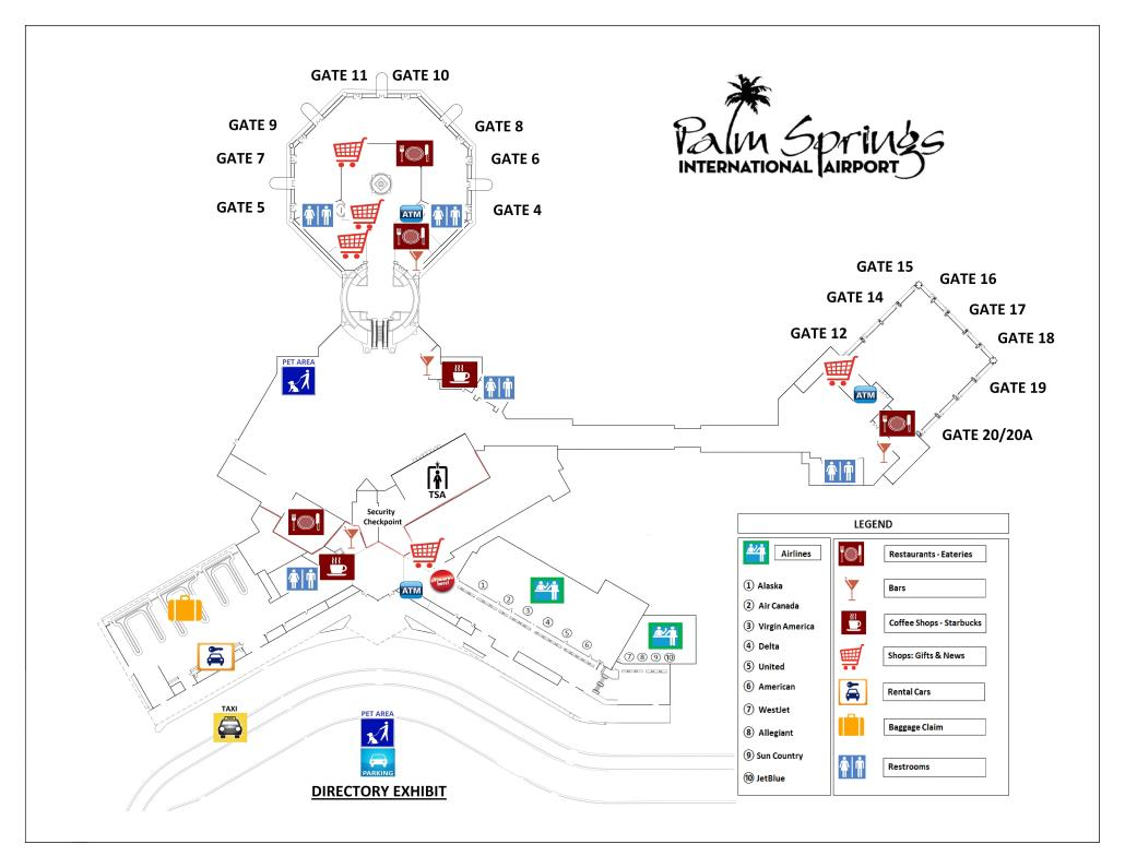 airport directory  city of palm springs - map of psp terminals with directory