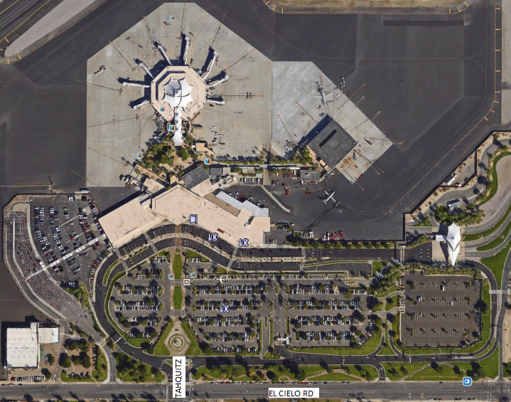 Google overhead view of Airport parking lots