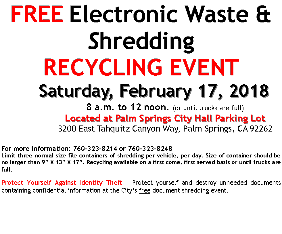 Ewaste shredding event February 17 2018