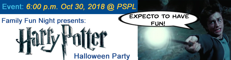 Oct 30 Family Fun Night Harry Potter Halloween Party