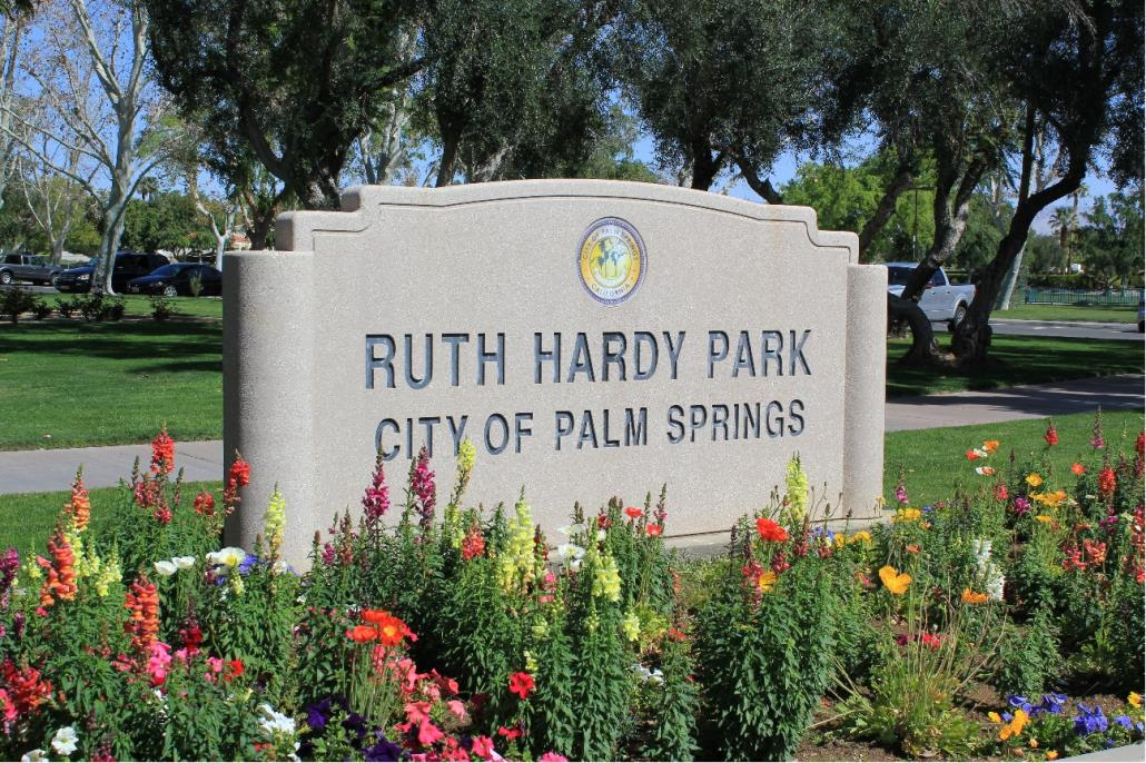 Welcome sign of Ruth Hardy Park