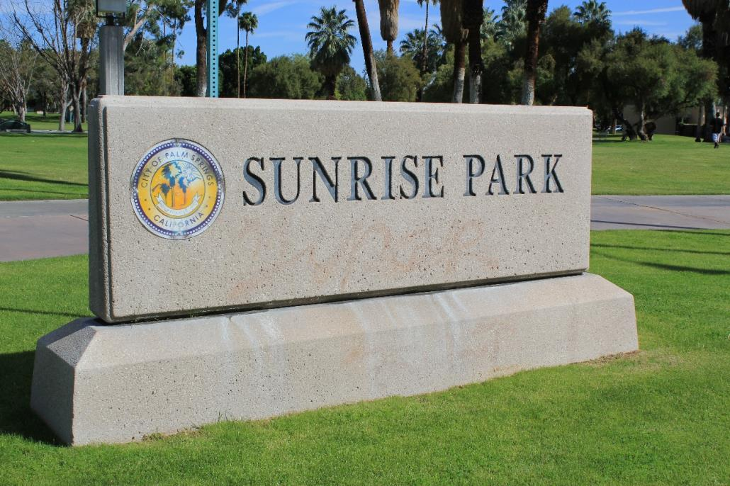 Welcome sign of Sunrise Park