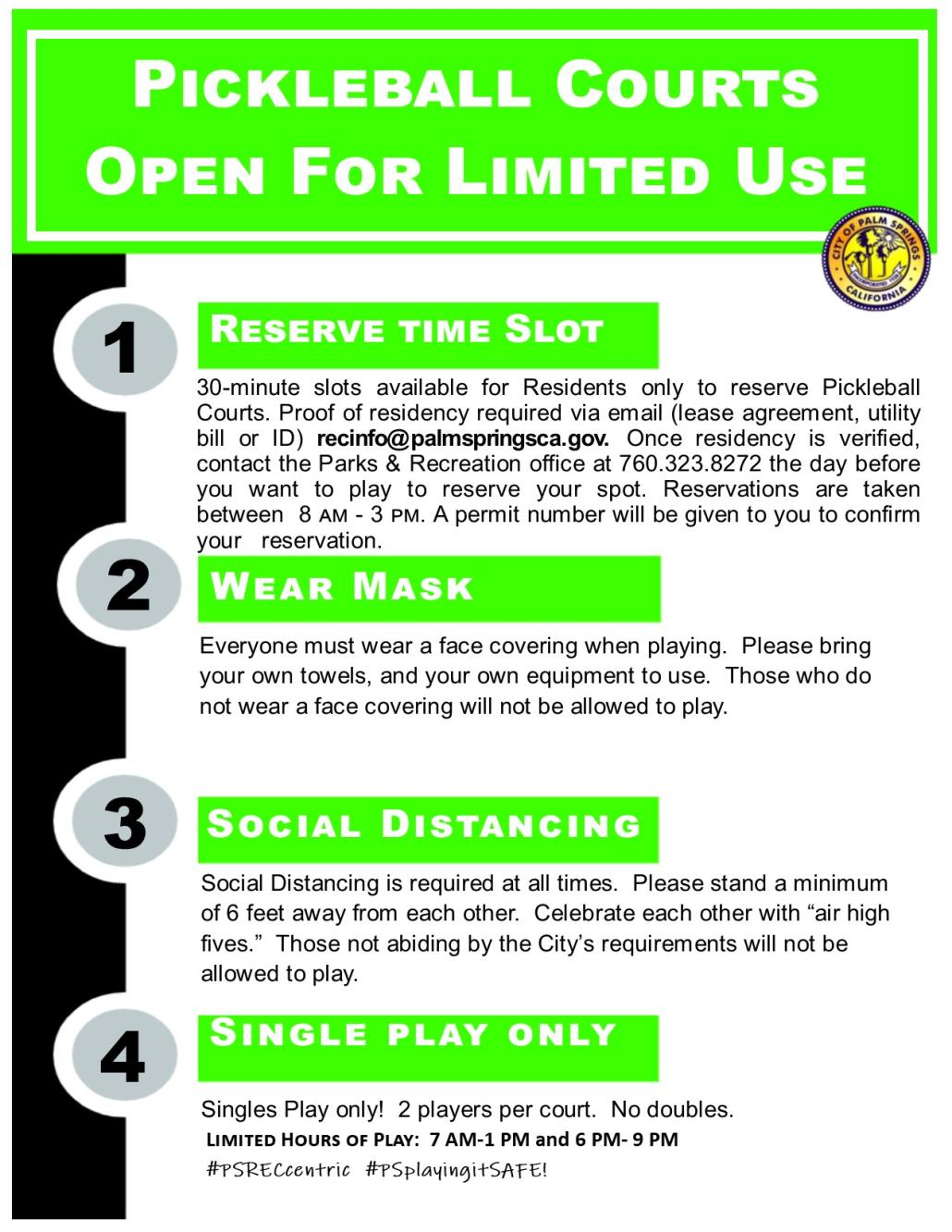 Re open Courts pickleball Guidelines