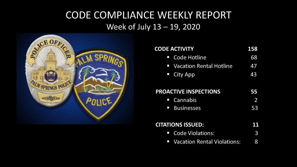 Code Compliance Report, July 13 - 19, 2020